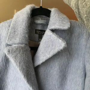 Topshop Jackets & Coats - Powder Blue Fuzzy Double Breasted Coat